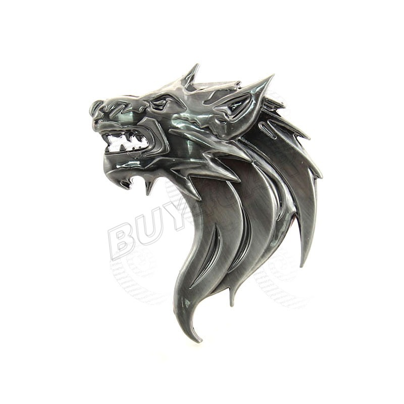 Personalized Fashion Auto 3D Metal Wolf Head Logo Right Badge Front Grille Emblem Sticker Car Styling Body Decoration Decal - BUY4CAR store