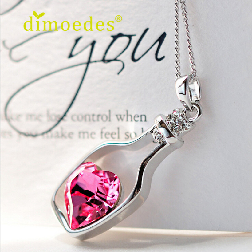 Creative New Women Fashion Necklace Ladies Popular Crystal Necklace Love Drift Bottles Special Pendant Necklace(China (Mainland))