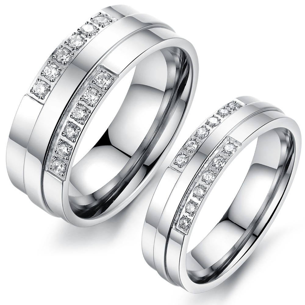 2015 New Crystal Couple Rings Wedding Rings 316L stainless steel Pure Titanium Woman Man Jewelry Christmas Gift Free Shipping(China (Mainland))
