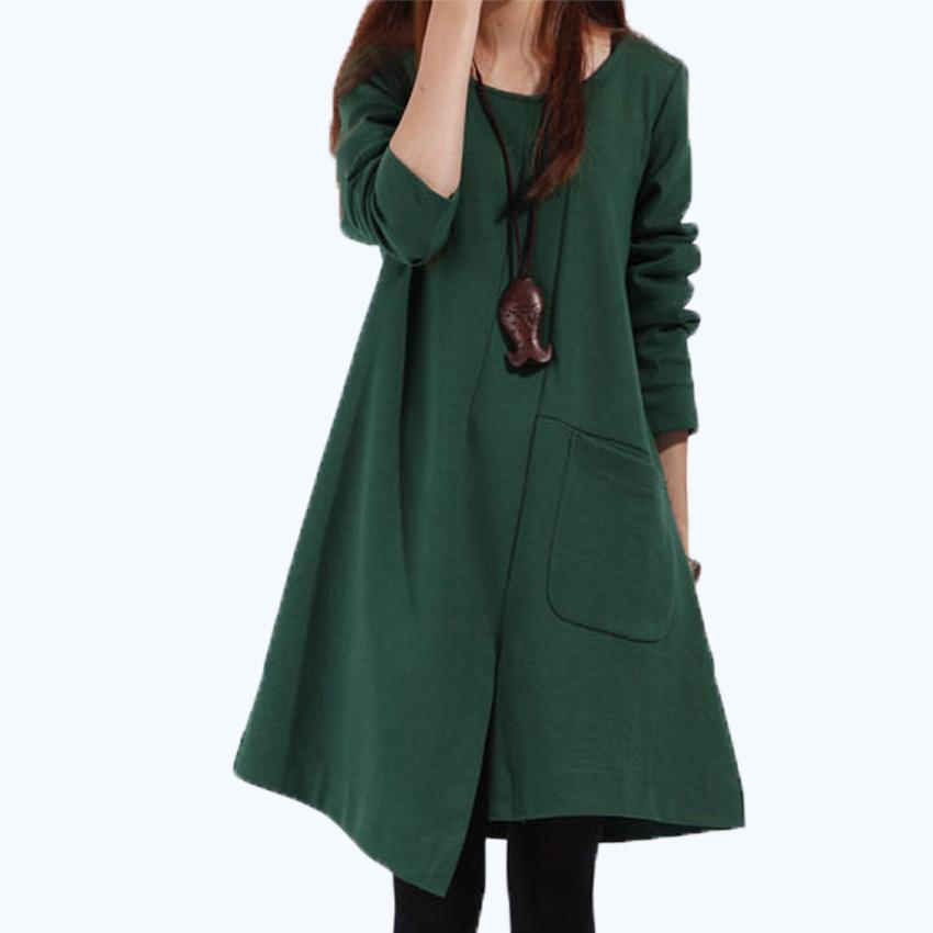 Unique 2016 Korean Fashion Women Dress Long Sleeve Casual Loose Dresses