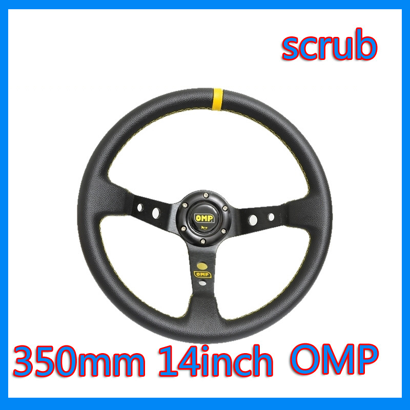 wholesales 100% high quality omp steering wheel automobile race 14 steering wheel genuine leather scrub modified10pcs/lots(China (Mainland))