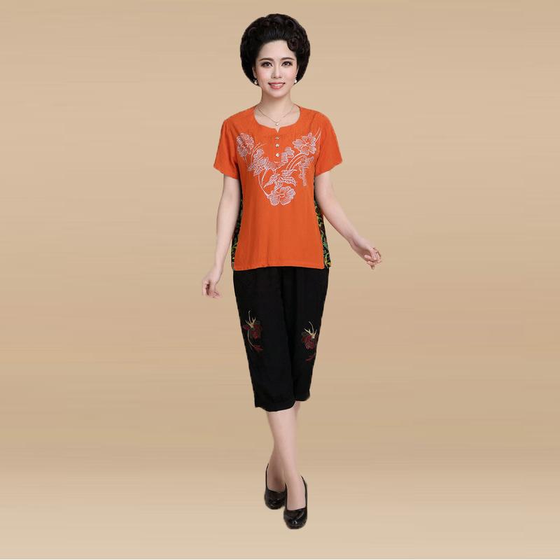 Casual Women Twinset Plus size Loose Short Sleeve Top +Pants mother clothing summer Linen cotton suit 2 Piece Set Bright Orange(China (Mainland))