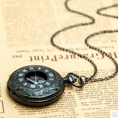free shipping 2015 New top sale gun black Roman numerals Vintage watch Quartz Pocket Watch With