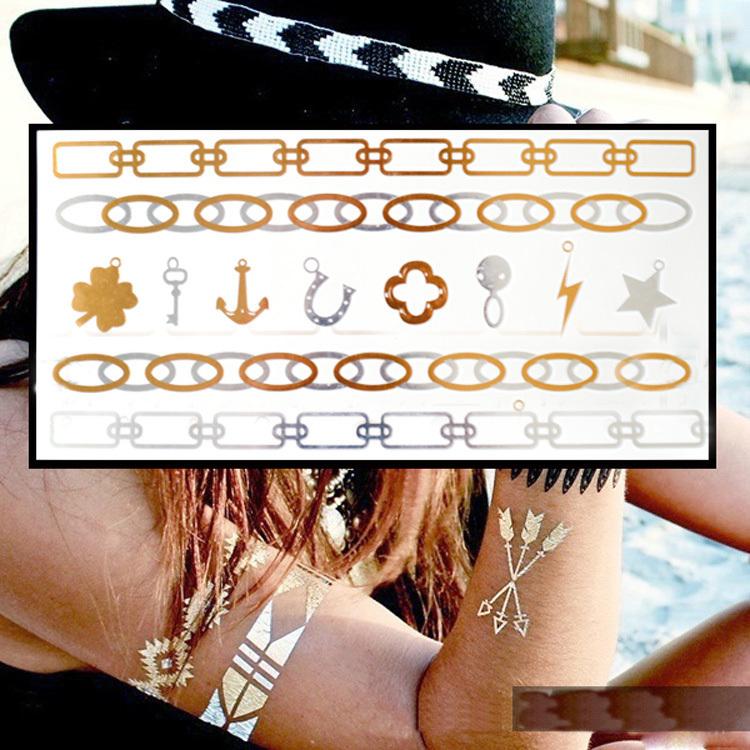 3D Glitter body art painting flash gold tattoo jewelry nail tools large temporary arabic Indian tattoost