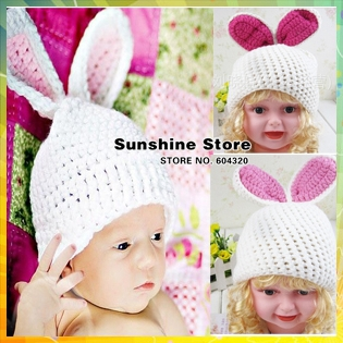Sunshine store #3C2614 5 pcs/lot (white) baby hat handmade Crochet Hat kids Knitted rabbit Long ears photograph Animal cap CPAM(China (Mainland))