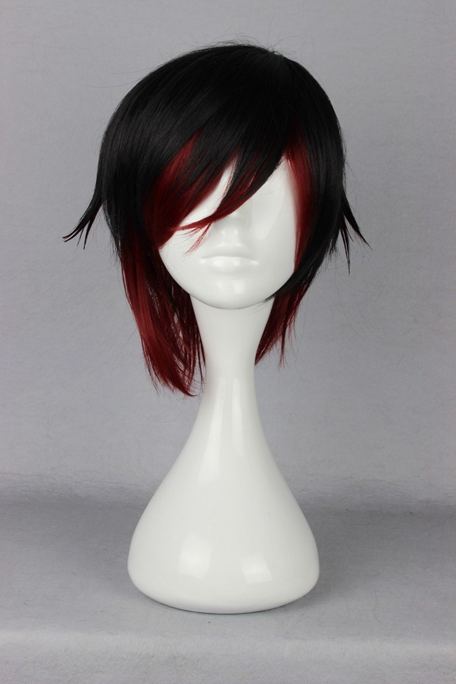 High Quality Beautiful Fashion Style Short Hair Haircut Japanese RWBY Ruby Heat Resistant Cosplay Wig(China (Mainland))