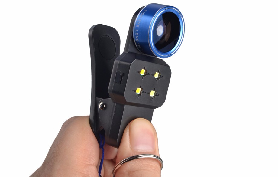 4in1 LED Filling Light Flash with Wide Angle Lens Macro Lens 198 Degree Fisheye Lens Mobile Phone Lenses For iPhone Smartphone