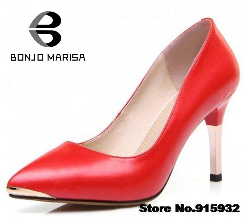 Vintage Pointed Toe Thin High Heels Party Office Lady Shoes Solid Comfortable Insole Black Red Less Platform Women Pumps 2015 - BONJO MARISA Store store