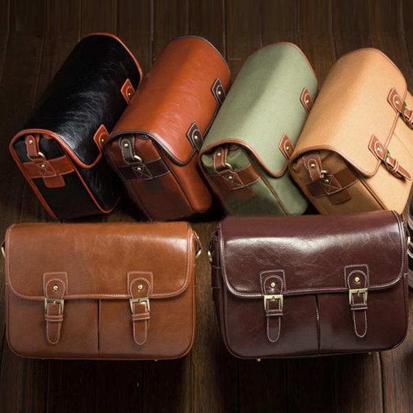 Medium PU Leather Vintage Womens Mens Camera Shoulder Messenger Travel Bag Insert Fit Canon Nikon Sony Pentax 1 DSLR + 2 Lens(China (Mainland))