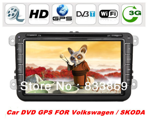 "HD 2din 8 ""Car PC GPS For Volkswagen / SKODA Series with Bluetooth IPOD FM TV video 3D UI PIP support 3g/wifi+4 GB SD (Map) card(China (Mainland))"