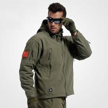 Army Camouflage Coat Military Jacket Man Waterproof Windbreaker Tactical Softshell Hoodie Jacket Army Clothing()