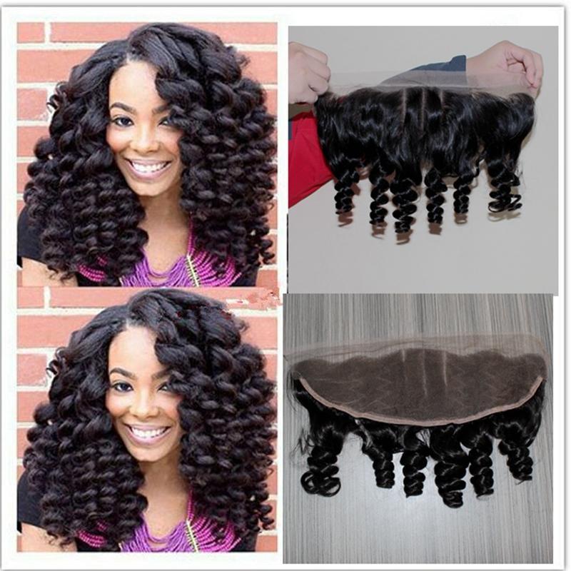 Фотография Cheap virgin human curl hair 13x4 lace frontal closure with baby hair 1b black three part lace frontal aunty funmi curl hair