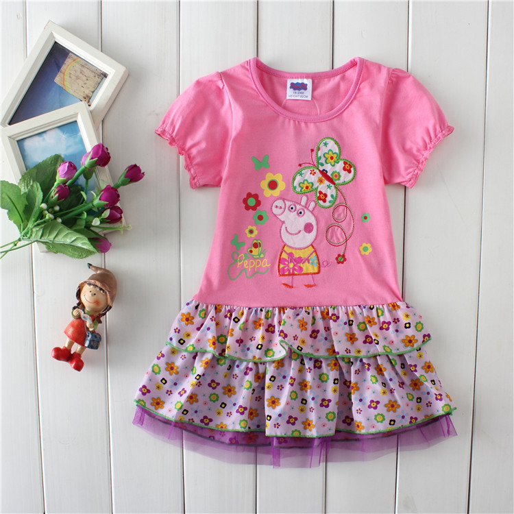 Wholesale F6083 # girl pepe pig 2014 new lovely princess chiffon dress to wear in the summer day printing 5 PCS/lot of girls(China (Mainland))