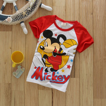Boys Clothing Summer Mickey Short Sleeve Boys Shirts Cotton Baby Shirt T-shirts For Boy Child Tops Character Children Clothes