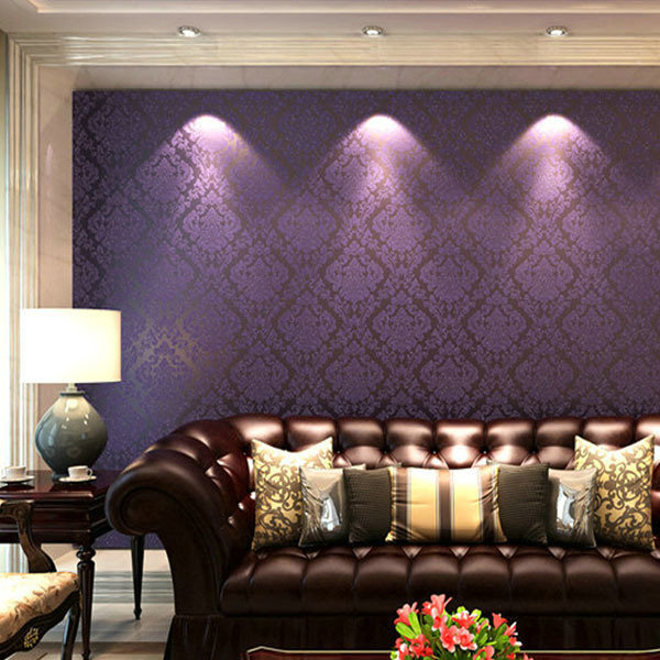 Classic european damascus non woven wallpaper damask for Damask wallpaper living room ideas