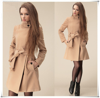 2014 New Spring Autumn Md-Long Trench Coat Women Camel Wide Lapel Belt Oblique Zipper Wool-blend Desigual ZL2042 - Rosy women clothes store