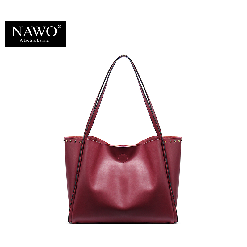 NAWO 2016 New Designer Women Bags Famous Brand Leather Handbags Luxury Ladies Casual Shoulder Bags Rivet Neverfull Tote Bag(China (Mainland))