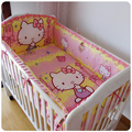 Promotion 6PCS Hello Kitty 100 Cotton Kid Baby Children Bedding Set Product Infant Cartoon bumper sheet