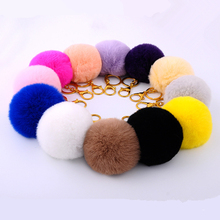 Ace Product 15 Colors Women Bag Fur Pom Pom Keychain 2016 Fur Ball Car Key Chain 8cm Pompom Key Holder Motorcycle Pompon Keyring(China (Mainland))