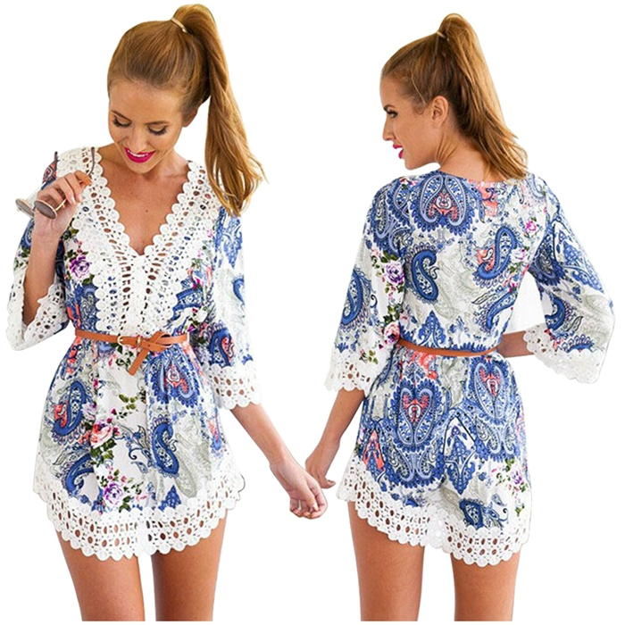 Sexy Women Summer Dress Casual Half sleeve Crochet Party Evening Short Lace Dress US Domestic Delivery(China (Mainland))