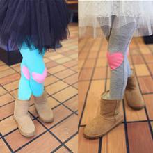 Cotton Girls Korean Style Love Heart Patch Leggings Children Kids Pants 4 Colors