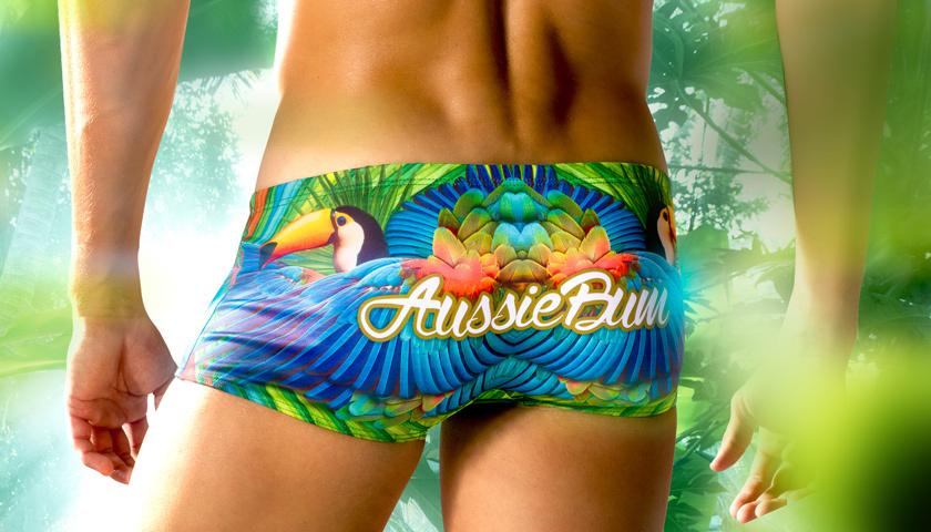 2015 Latest AB Men's Swimwear Men AB Fashion Sea Parrot Print Swim Trunks Men Sexy Swim Boxers Male Swimming Trunks Shorts(China (Mainland))