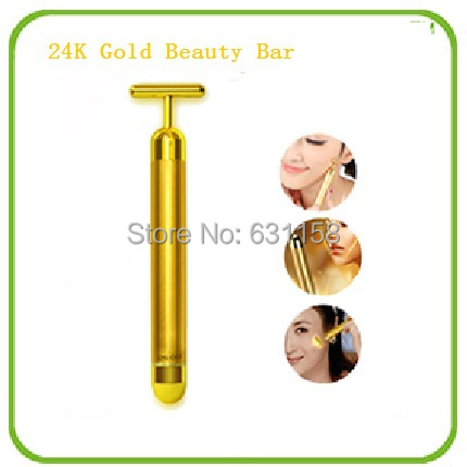 Easy face 24K Gold Beauty Bar Roller Stick Facial Massager Face-Lift Anti-Wrinkle Anti-aging Relaxation Freeshipping(China (Mainland))