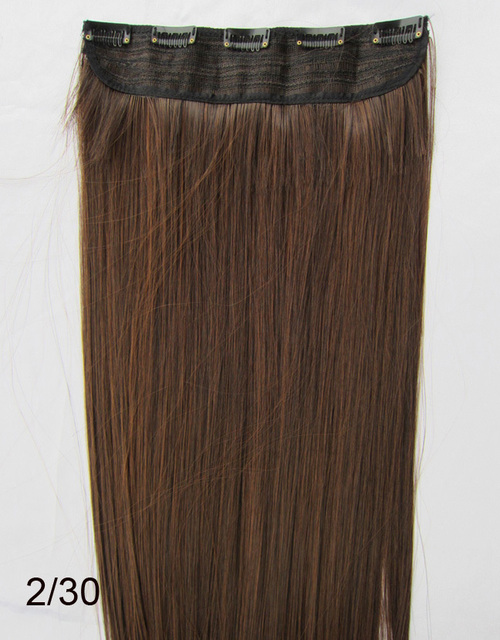 "22"" 100G Remy Clip in Synthetic hair extensions ,straight 5 clips in hairpieces"