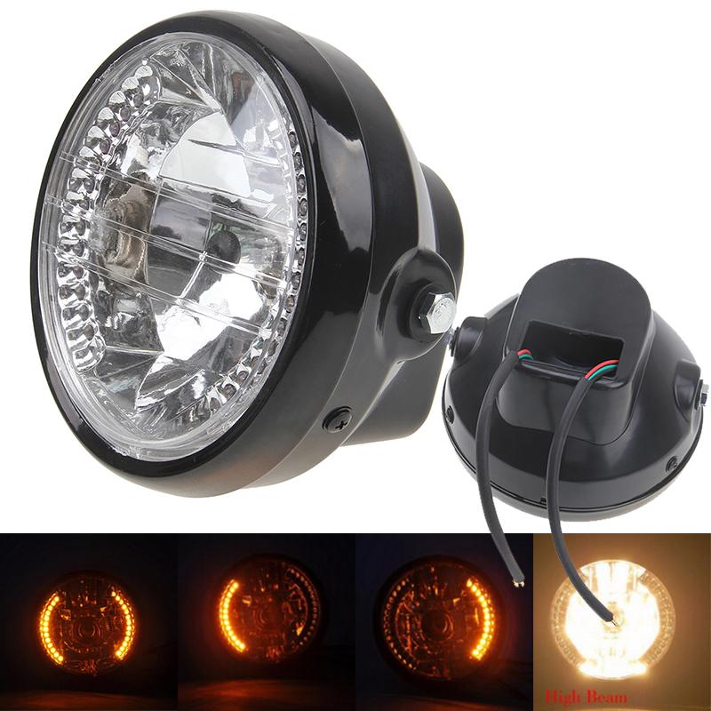 "New Hot Universal Motocicleta 7"" Motorcycle High/Low Beam Headlight LED Turn Signal Indicators Cafe Racer Bobber Motorbike Lamp(China (Mainland))"