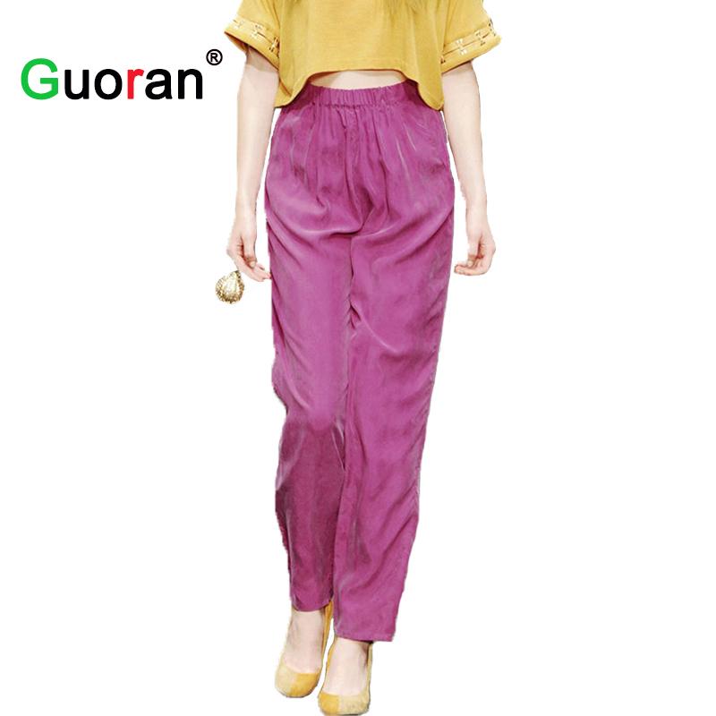 Elegant Summer Women Pants Solid Loose Casual Elastic Waist Harem Capris Pants