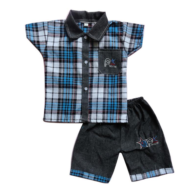 (80-110cm)Denim Baby boy clothing set Summer Plaid Kids Clothes Boys (shirts+shorts) Children Clothing Sets Boys(China (Mainland))