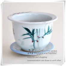 Supply Jingdezhen Ceramic Arts & Crafts Lucky Bamboo pots painted with care Singles indoor and outdoor potted 12010(China (Mainland))