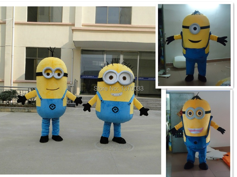 on sale! free shipping,8 styles,2014 Despicable me minion mascot costume for adults despicable me mascot costume(China (Mainland))