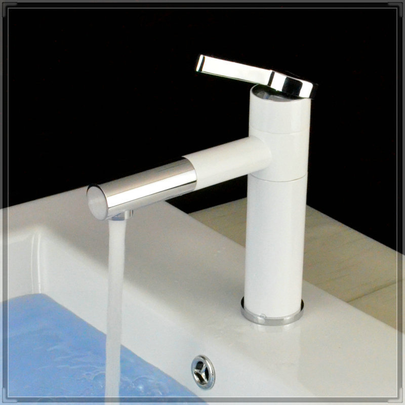 Short grilled white porcelain body basin faucets rotation for Robinet cuisine blanc