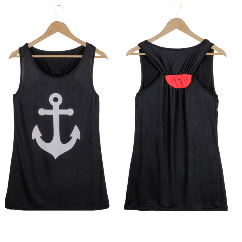 Fashion Anchor Fancy Sleeveless Tee Shirt Bowknot Summer Simple Vest Sexy Top T-Shirt Backless Sports Plus size