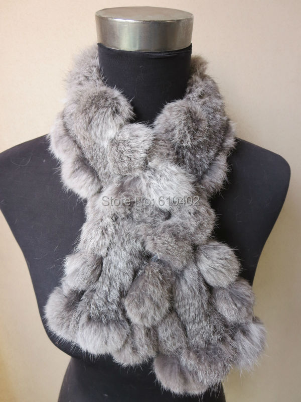 Free shipping/real100% complete  rabbit  fur  handmade new  Fishtail winter scarf /neckerchief natural gray