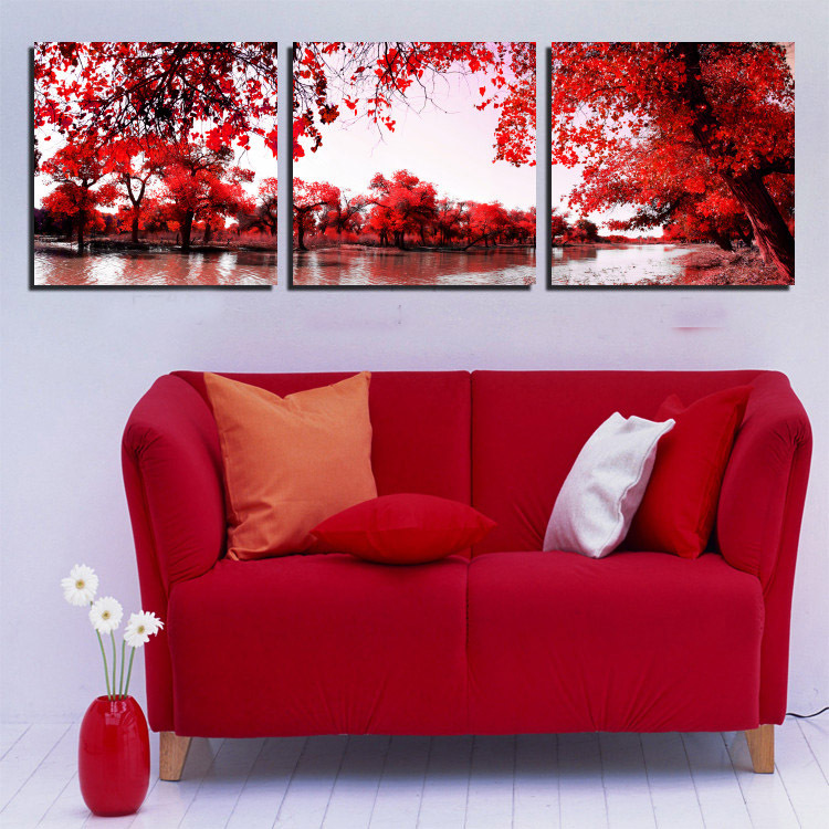 (Unframed)3 Panel Modern Landscape Paintings River Red Tree Painting Print On Canvas For Your House Wall Decoration(China (Mainland))