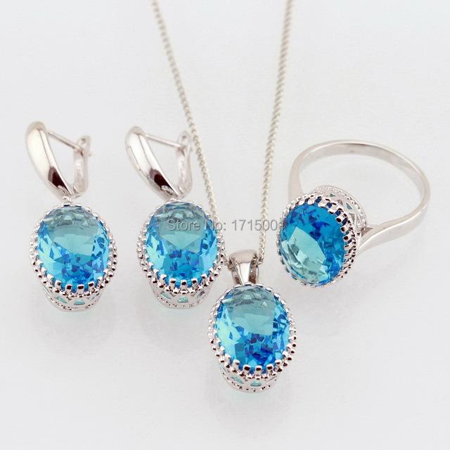 2015 Hotting синий топаз горный хрусталь 925 комплект для женщин ожерелья серьги ...