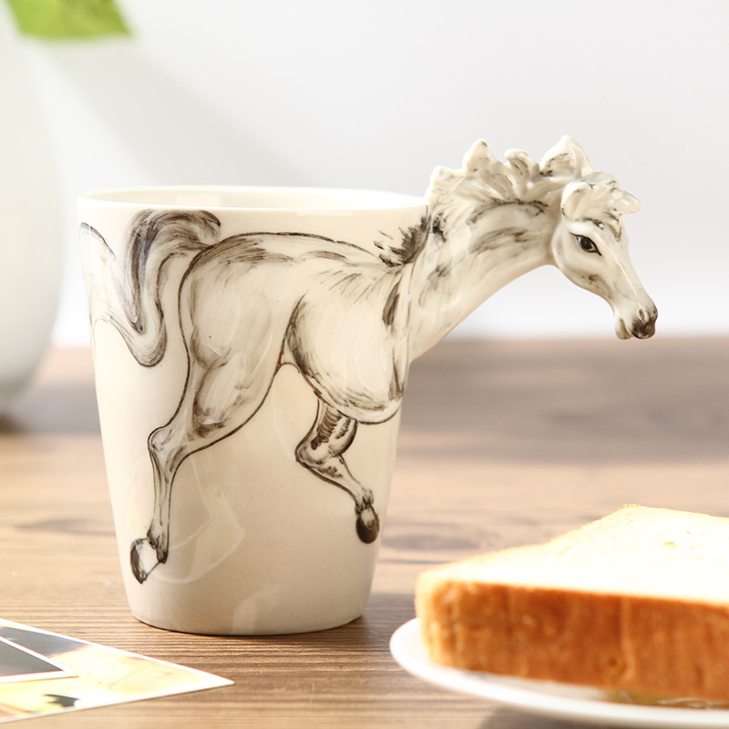 Chinese Kung Fu Tea, Mug, Couples Cup. First 3D Stereoscopic Animal Cup Ceramic Painted Horse Models, Free Shipping(China (Mainland))