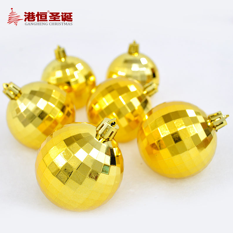 Christmas tree ornaments 6 cm gold plating mirror high-grade Christmas balls 49 g (6) styrofoam balls ornament crafts(China (Mainland))