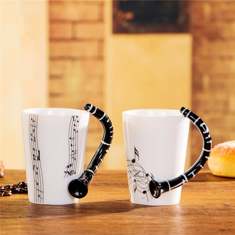 Personalized Music Clarinet Bone China Mug 240ml Ceramic Coffee Tea Cup Porcelain Zakka Novelty For Gift Cafe Office Decor(China (Mainland))