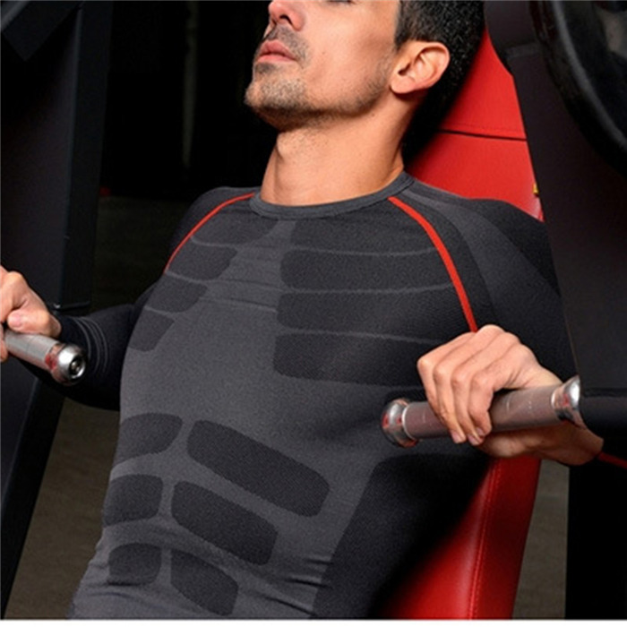 Men Compression Long Sleeve O Neck Sports Tight T Shirts Fast Drying Fitness GYM Base Layer
