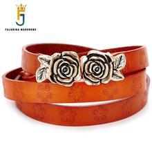 Buy FAJARINA Women's Cowhide Genuine Leather Elegant Refined Rose Buckle Belts Women Female Hook Pin Buckle Woman N17FJ076 for $18.56 in AliExpress store