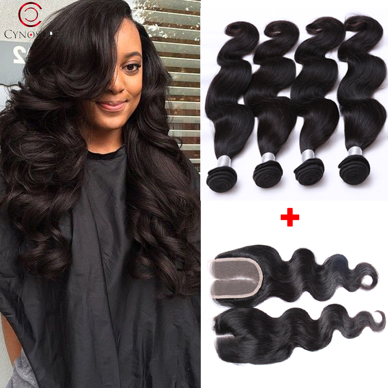 Malaysian Virgin Hair With Closure Grade 7a Unprocessed 4pc Bundles Malaysian Virgin Hair Body Wave 4*4 Free Part Lace Closure