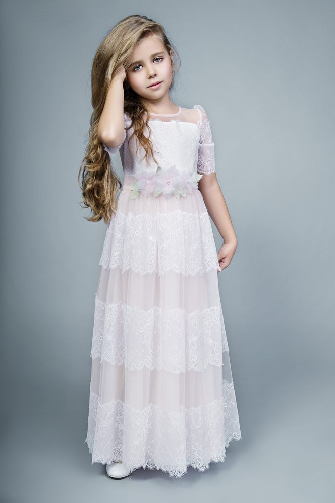2016 Half Sleeve Tulle Lace Long Flower Girl Dresses With Flowers Sashes A-Line Cute First Communion Dress Girls Evening Gowns(China (Mainland))