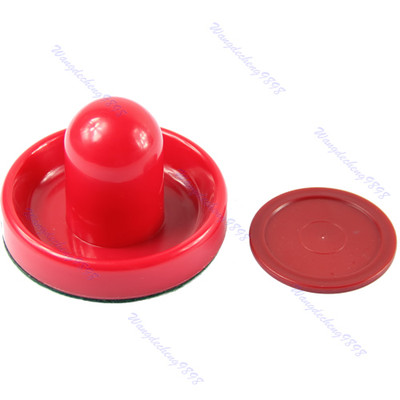 G104 Free Shipping 1pc 96mm Felt Pusher Air Hockey Table Mallet Goalies And 1pc 63mm Puck Red(China (Mainland))