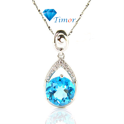 Wholesale Hot ON SALE Clear Delicate Fine Jewelry 7ct Natural Swiss Blue Topaz Necklaces Pendant 925 Silver Free Shipping