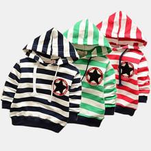 2015 Children hoodies baby boys girls striped outerwear Children Long sleeve fashion t shirt autumn spring Kid clothes(China (Mainland))