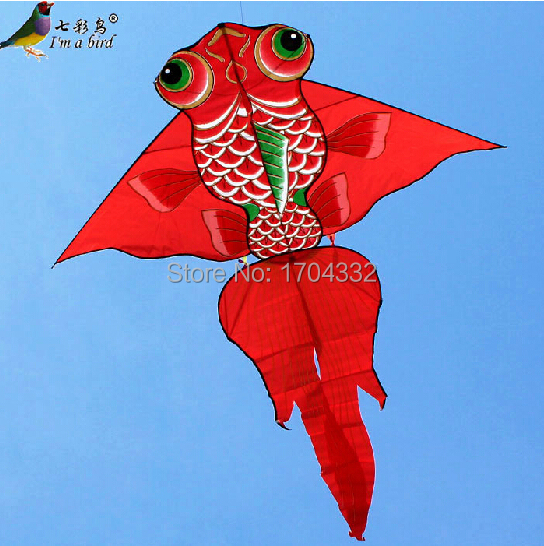 Free Shipping Outdoor Fun Sports 2m Power Gold Fish Kite Red Color /Orange Color With Handle and Line Good Flying(China (Mainland))