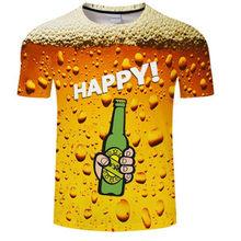 Aliexpress men's milk fiber man Halloween skull beer bubble digital print T-shirt men's wear sport undershirt футболка мужская(China)
